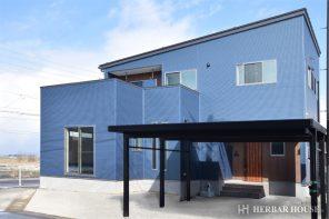 シンプルモダン・ブルーのガルバリウム鋼板の家 ハーバーハウス長岡支店