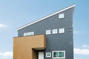 刈羽郡刈羽村「ブルーの外観が目をひく造作家具のある家」住宅完成見学会